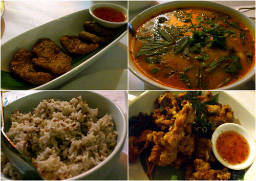 fish cake, seafood tomyam, brown rice, deep fried chicken