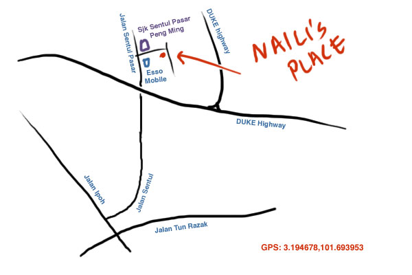map to Naili's place, Sentul