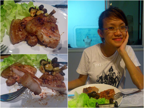 Haze enjoying the nam yu pork chop, with some mushroom & lettuce