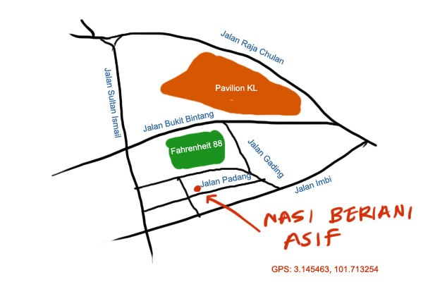 map to nasi beriani asif, imbi