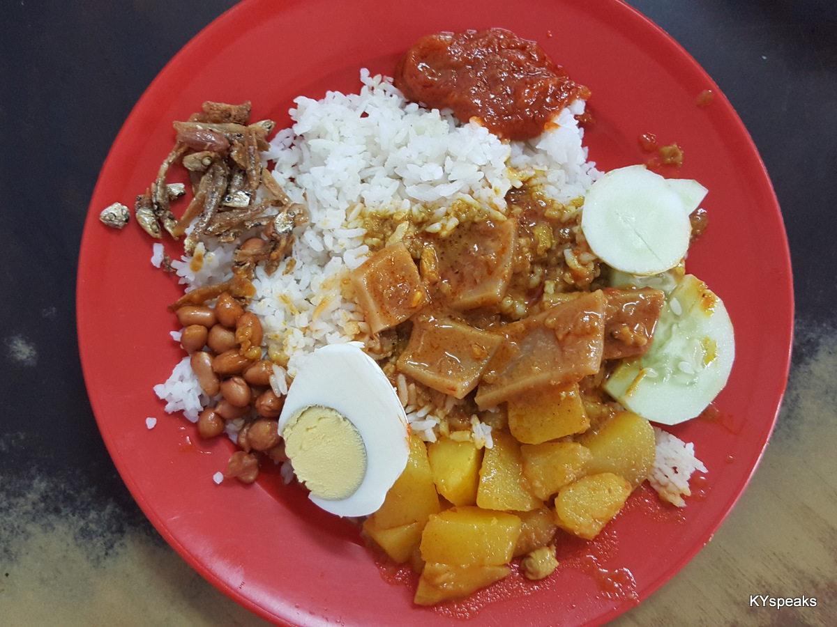 love my nasi lemak with potato curry & cuttlefish