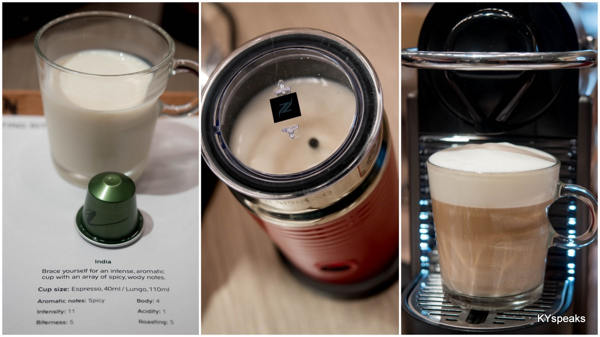 making latte with Nespresso Aeroccino