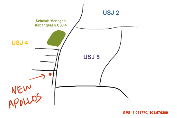 map to New Apollos kopitiam, USJ 4