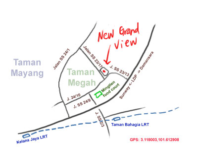 map to New Grand View, Taman Megah