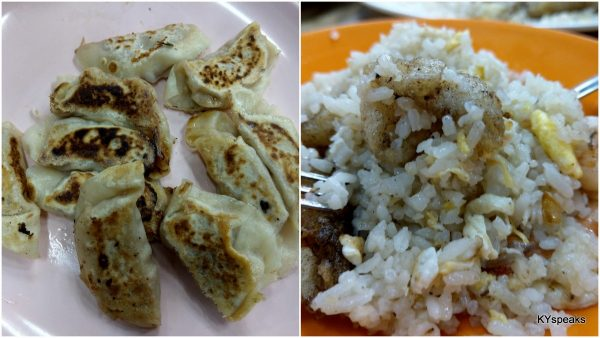 gyoza, seafood fried rice