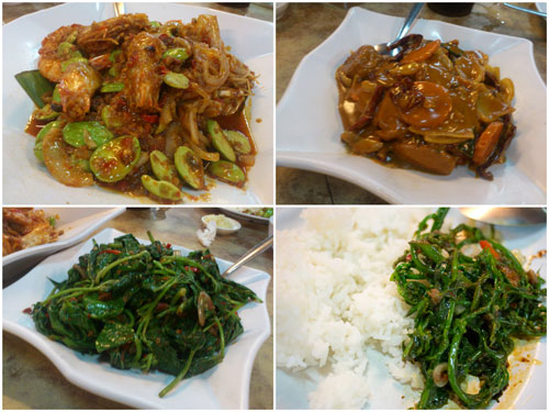 prawn with petai, some tofu dish, vege (vitamin c, hey!)