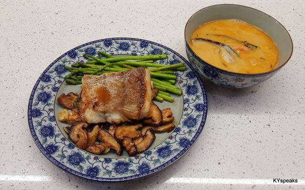 glorious miso grilled hake steak with spicy mussel soup