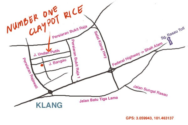 map to Number One claypot rice, Taman Berkeley, Klang