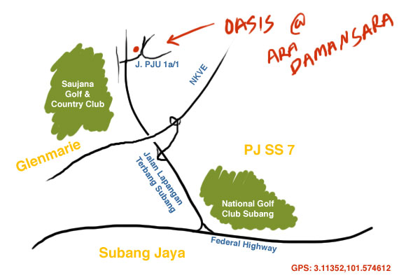 map to Oasis, Ara Damansara