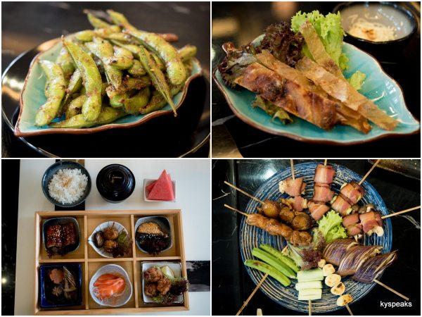 Grilled Edamame, October Special Bento, Kushiyaki Moriawase