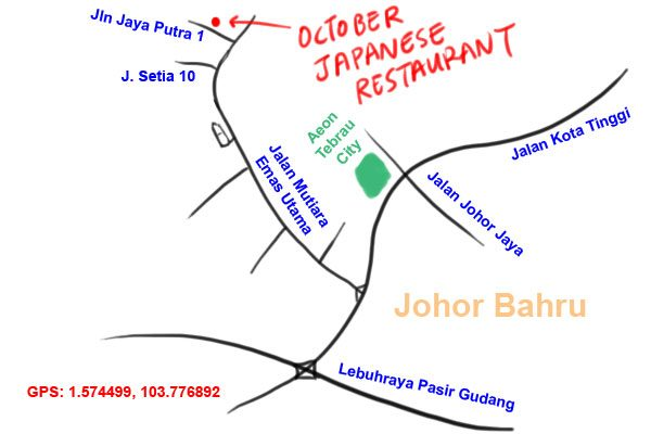 map to October Japanese Restaurant, JB