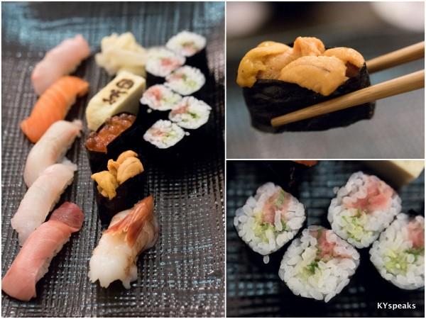 assorted sushi, including my favorite - uni (sea urchin)
