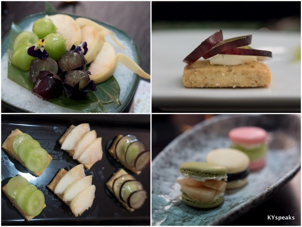 Shine Muscat, White Peach and New Pione, sesame short bread with fruit topping, macaroon