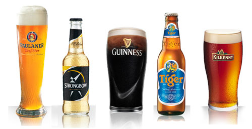 Tiger Beer - Guinness - Kilkenny - Strongbow - Paulaner