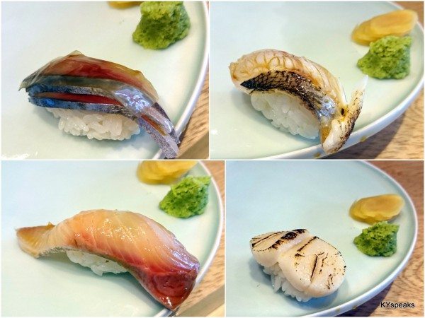 mackerel with seaweed, barracuda, scallop