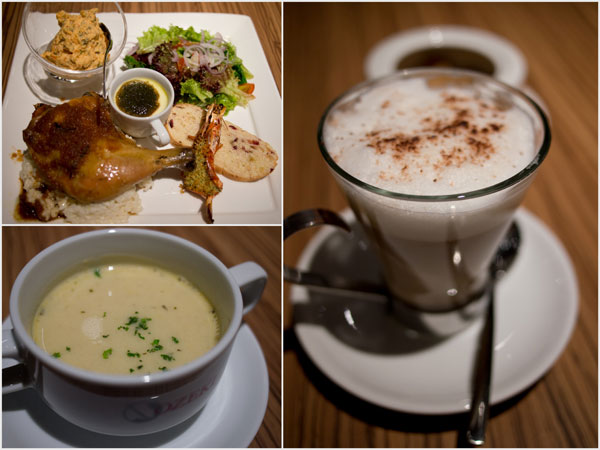 roasted chicken and risotto platter, soup included, but not the coffee