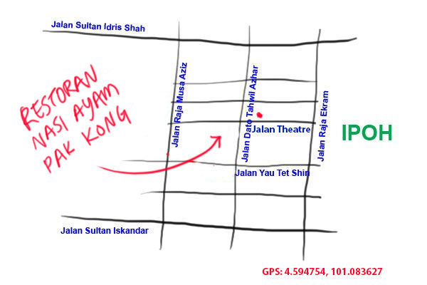 map to Pak Kong chicken rice, Ipoh