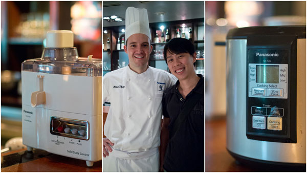 KY with some of the stars of the show, chef Michael Elfwing and Panasonic kitchen appliances