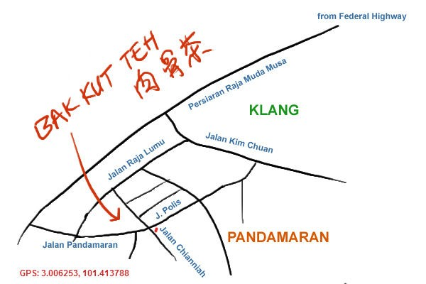 map to bak kut teh at pandamaran