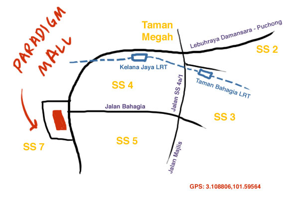map to Paradigm Mall, Petaling Jaya