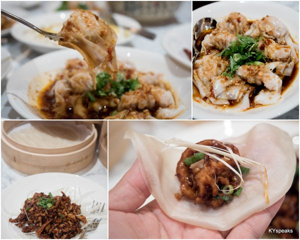 Prawn & Pork Dumpling with Hot Chilli Vinaigrette, Stir-fried Shredded Pork in Black Bean Sauce served with Chinese Crepes