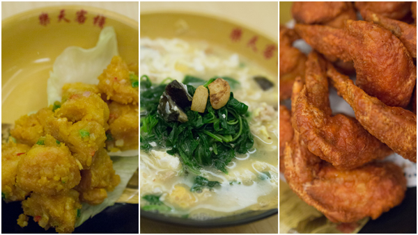 fried prawns with salted egg yolk, spinach in superior stock, fried shrimp paste prawns