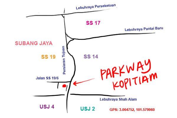 parkway kopitiam map, Subang Jaya