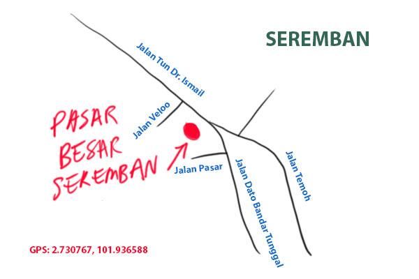 map to Seremban Pasar Besar