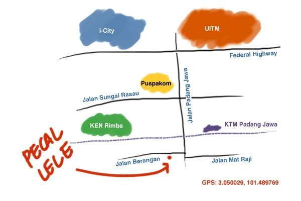 map to Pecal Lele Padang Jawa
