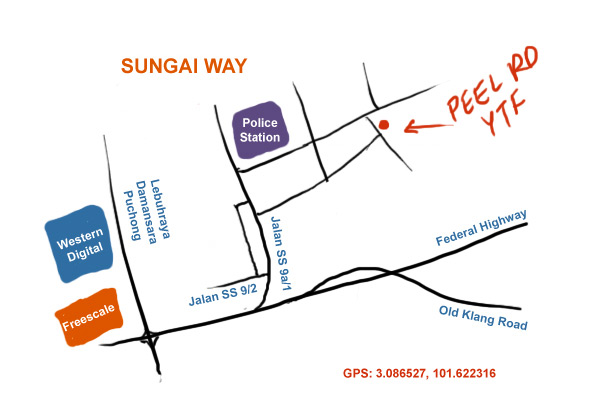 map to Peel Road yong tow foo at Sungai Way, PJ