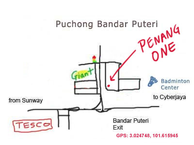 location map of Penang One restaurant