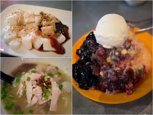 chee cheong fun, kueh teow soup (with blood too!), ice kacang