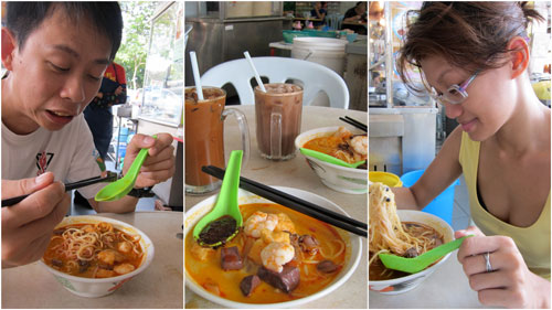 KY and Haze having curry mee at restaurant okay, PJ SS 2