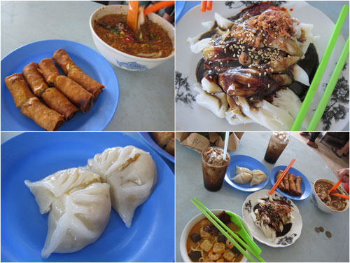 popiah, chee cheong fun, chai kueh, and laksa