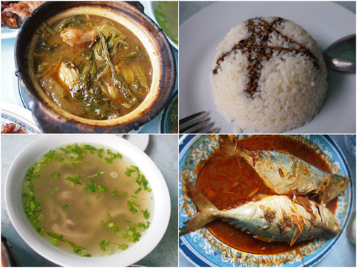 chai buih, rice with dark soya sauce, pork tripes soup, asam fish