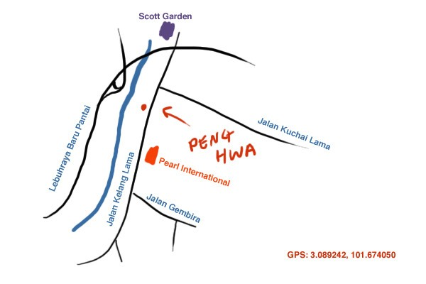 map to Peng Hwa restaurant at Old Klang Road