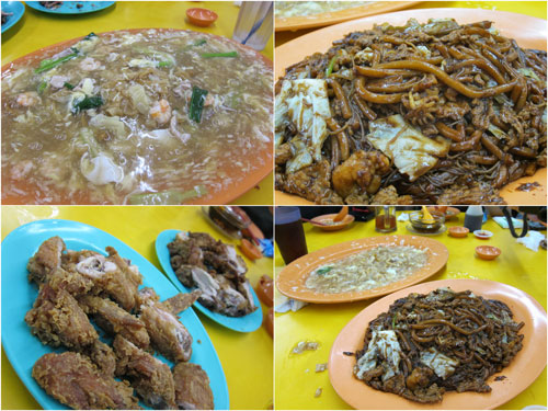 wat tan hor, hokkien mee, fried chicken drumstick and wings