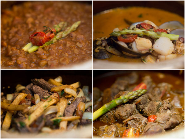 potato, chicken & peanut stew; sea bass with seafood & spicy sauce; tenderloin beef with onion & potato; beef and cilantro stew