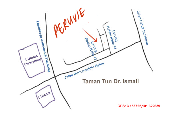 map to Peruvie at Taman Tun Dr. Ismail
