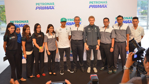 the PETRONAS Team with Lewis Hamilton & Nico Rosberg