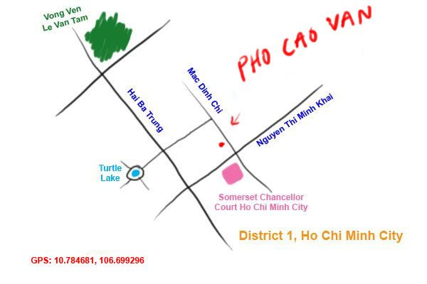 map to Pho Cao Van at Ho Chi Minh City