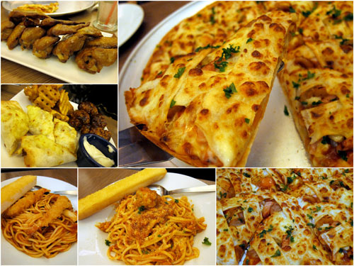 chunky loaded pizza, pasta, chicken wings, and more!