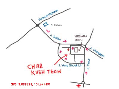 map to char kueh teow in PJ state