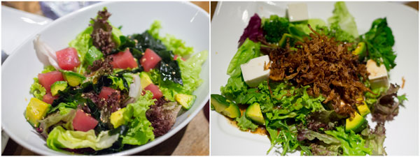 tuna wakame salad, golden needle salad