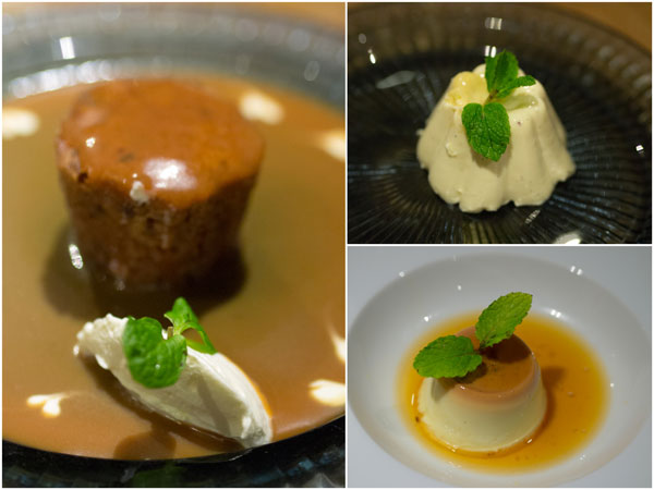 sticky date pudding, durian panna cotta, creme caramel