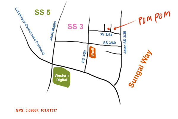 map to pom pom restaurant at PJ SS3
