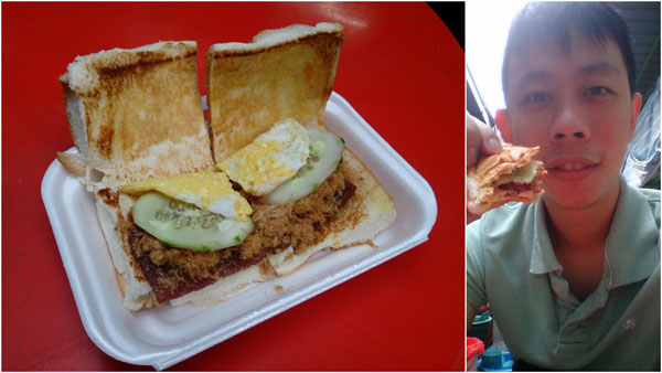 my breakfast had everything - bak kua, pork floss, and fried egg