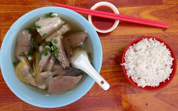 mixed pork soup with a side of rice