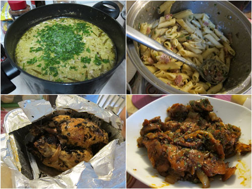 clam chowder (Lance), bacon pasta (Suan), roast chicken (Kim), sausage (Horng)