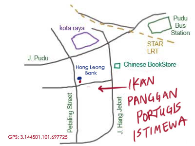 map to ikan bakar portugis at Petaling Street